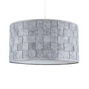 Ceiling Pendant Light Shade / Table or Floor Lampshade Grey Felt Weave Design