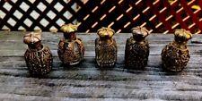 5 Vintage Austrian Miniature Gold Filigree Glass Mini Perfume Bottles Very Rare