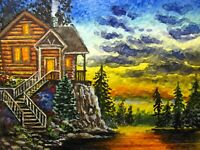 Watercolor Painting Sunset Lake Forest Cabin Nature ACEO Art Auction