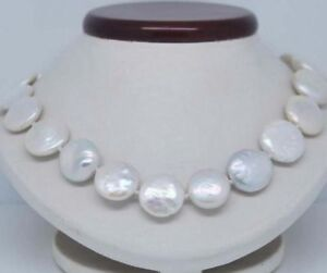 """11-12mm Natural White Freshwater Pearl Coin Beads Necklace 18"""" JN422"""