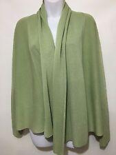 Eileen Fisher PM Apple Green Silk Cotton Shawl Collar Wrap Cardigan Sweater