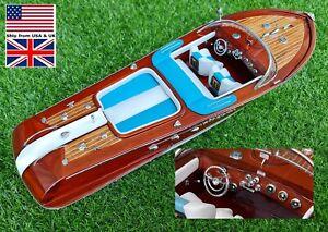 """Riva Aquarama Italian Speed Ship Boat Model Wooden Display Décor 21"""""""