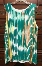 Chico's Cool Multi Cool-Print Sleeveless Sweater Size 4 (20/22-XXL) NWOT