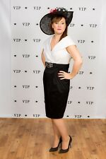 Vestido de Boda Vintage Negro y blanco con cuello Noche Vestido Formal Carreras Tamaño 14