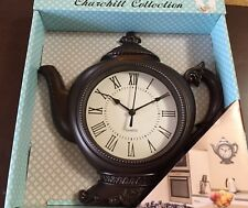 """Kitchen Ornate Tea Pot Kettle Wall Clock Battery Operated Bronze Brown 12"""" NEW"""