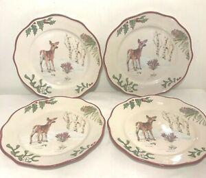 4 MODERN FARMHOUSE Deer Heritage Forest Salad/ Dessert Plates Set Better Homes