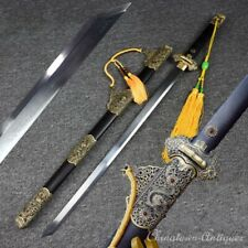 Imperial Dragon TangDao Battle Sword Folded Pattern Steel Blade Sharp #1277