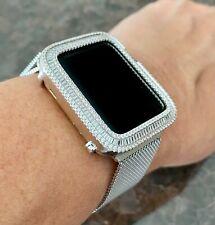 Series 2,3 Apple Watch Bezel Case Silver Baguette Zirconia & mesh band set 42 mm