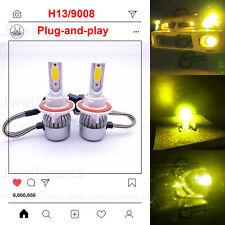 H13 9008 LED Headlight Bulbs Kit High Low Beam Upgrade Headlamp 60W 3000K Yellow