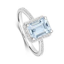 Aguamarina y Diamante Anillo Oro Blanco Compromiso Tamaño Grande R - Z Tasación