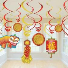 Chinese New Year Party Hanging Swirl  Decorations x 12