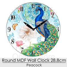 Round MDF 28.8cm Wall Clock Peacock Home Decor Vintage Office Gift