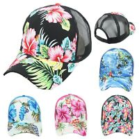 Hawaiian Baseball Cap Mesh Trucker Floral Hat Fashion Snapback Tropical Caps