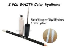 2 PCs WHITE Eyeliners - Waterproof Liquid Matte Finish Eyeliner & Pencil *NEW*