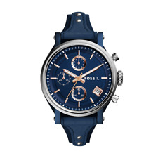 Fossil Damen-Armbanduhr ES4113 Edelstahl Leder Analog Quarz Blau 38 mm
