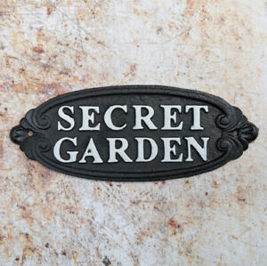 Secret Garden Cast Iron Antique Style Wall Mounted Black Plaque / Sign