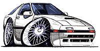 1986-1991 RX-7 White Cartoon t-shirt turbo II 2 mazda rx7 rotary in sizes S-3XL