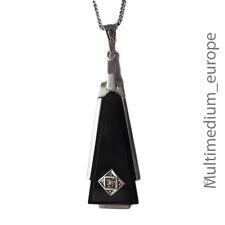 ART DECO Argent Collier Pendentif Onyx Silver HOMOLOGUE necklace