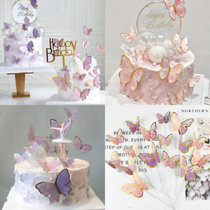Butterfly Cake Toppers Happy Birthday Cake Toppers Wedding Party Cake Decoration
