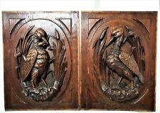 2 Black forest hunting wood carving panel Antique french architectural salvage