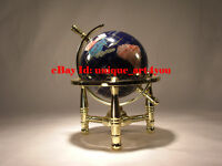 Unique Art 6-Inch Mini Table Top Gemstone World Globe with Gold Tripod Office
