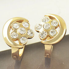 9k Gold Plated star Rhinestone Crystal lucky Womens moon small Hoop Earrings