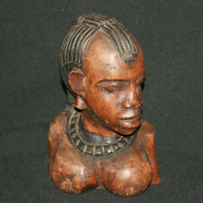 Antique hand carved wood nude African woman bust statuette