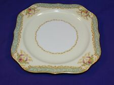 BEAUTIFUL NORITAKE CHINA SQUARE ACCENT SALAD PLATE N71 GREEN PANEL M MARK ca1933