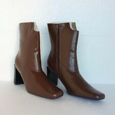 Suzanne Somers New Womens Ankle Boots Brown Faux Leather Wedge Heels 7.5 M