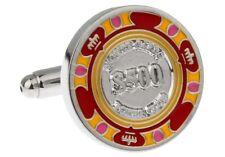 Poker Chip Cufflinks Red Yellow $500 Wedding Fancy Gift Box Free Ship USA