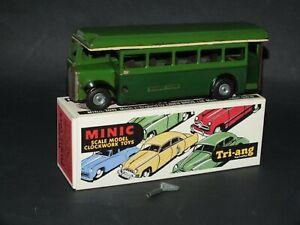 Triang Minic Greenline Bus 52m clockwork, original key and excellent repro box