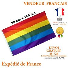 DRAPEAU 150 X 90 cm ARC EN CIEL NEUF COLOR GAY PRIDE RAINBOW FLAG NO BANDANA