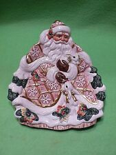 Fitz & Floyd SANTA serving plate / dish. Colorful St. Nick with WHITE RABBITS.