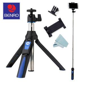 Benro BK10 Mini Tripod/Selfie Stick Ball Head &  Blue/Black+Micro-fiber