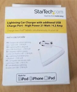 StarTech.com USBLT2PCARW Dual Port Car Charger with Apple 8pin Lightning Connect