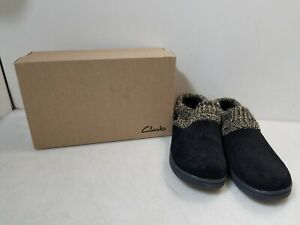 Clarks Black Knitted Collar Clog Indoor/Outdoor Slippers Women's 10M - CS