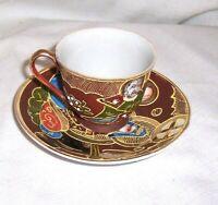 Vintage Hand Painted GOLD TRIMMED CLOISONNE PORCELAIN Demitasse Cup And Saucer