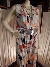 GORGEOUS Diane Von Furstenberg Silk Abstract White Orange Blck Aqua Jumpsuit 8