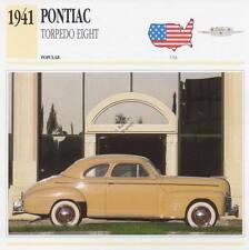 1941 PONTIAC TORPEDO EIGHT Classic Car Photograph / Information Maxi Card