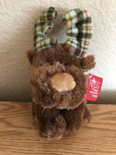 """Marty Moose Plaid Flannel Antlers Plush 8"""" Russ Berrie"""