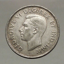 1947 CANADA King George VI of Britain Domains Silver 25 Cent Coin CARIBOU i57127