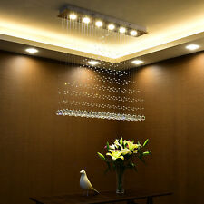 "Modern Luxury 39""x39"" Rectangle LED Rainrop Crystal Ceiling Chandelier Lighting"