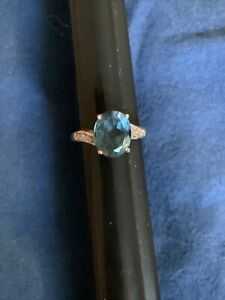 14k Gold Aquamarine & Diamond(tested) Ring. wt 3.39. sz 7 Crisp.
