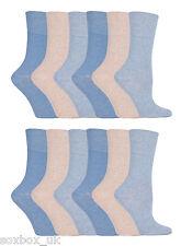 12 Pairs Ladies GG73 Gentle Grip Socks Size 4-8 Uk 37-42 Eur Plain Blue