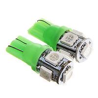 X2  BOMBILLAS LED COCHE T-10 W5W 5 SMD 12V  LUZ VERDE GREEN TIPO XENON T10