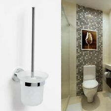 Round Wall Mounted Toilet Brush Holder Set Frosted Glass Cup Bathroom Chrome