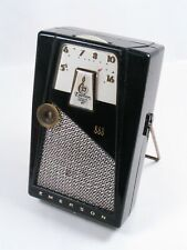 EMERSON EXPLORER Model 888, transistor radio. Black with chrome trim. Working