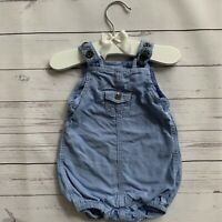 Baby Boys Girls 0-1 Month - Short Romper - H&M Blue Dungarees Summer Lightweight