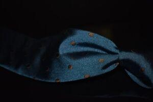Altea Milano Thick Woven Twill Peacock Teal Cocoa Pois Polka Dot Spot Silk Tie