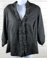 Torrid Womens Sweater Jacket Peplum Ruffles Eyelet Closure Grey EUC Size 0 A4414